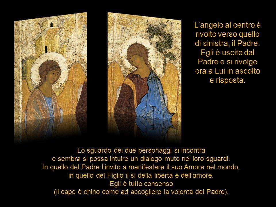 L'angelo al centro è rivolto verso quello di sinistra, il Padre.