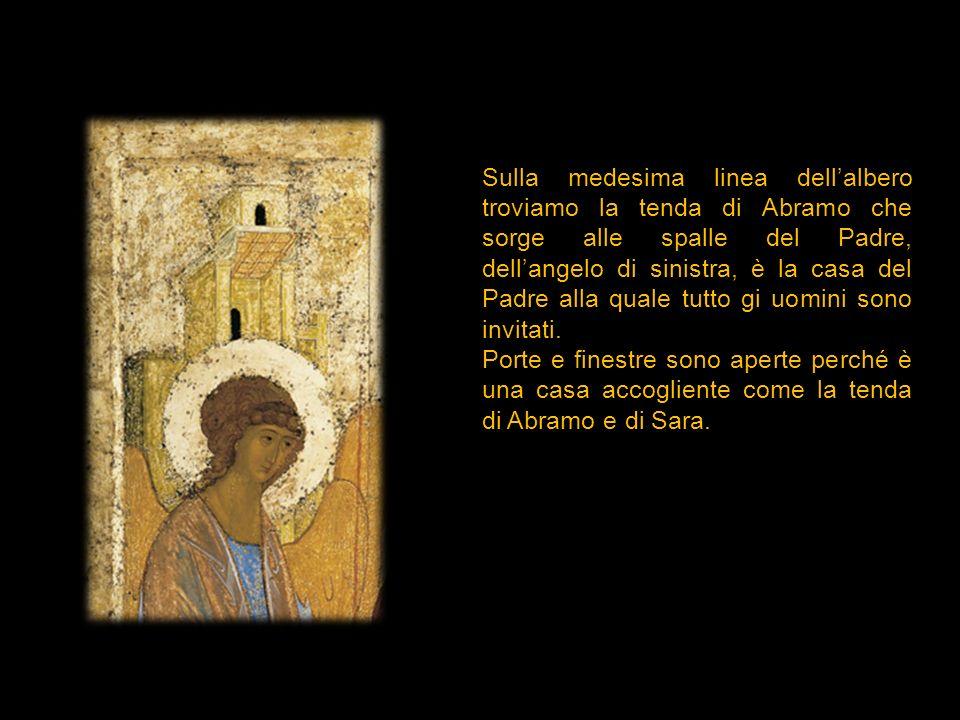 Sulla medesima linea dell'albero troviamo la tenda di Abramo che sorge alle spalle del Padre, dell'angelo di sinistra, è la casa del Padre alla quale tutto gi uomini sono invitati.