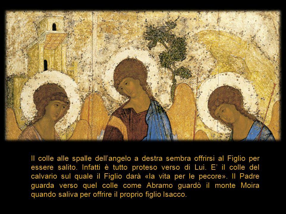 Il colle alle spalle dell'angelo a destra sembra offrirsi al Figlio per essere salito.