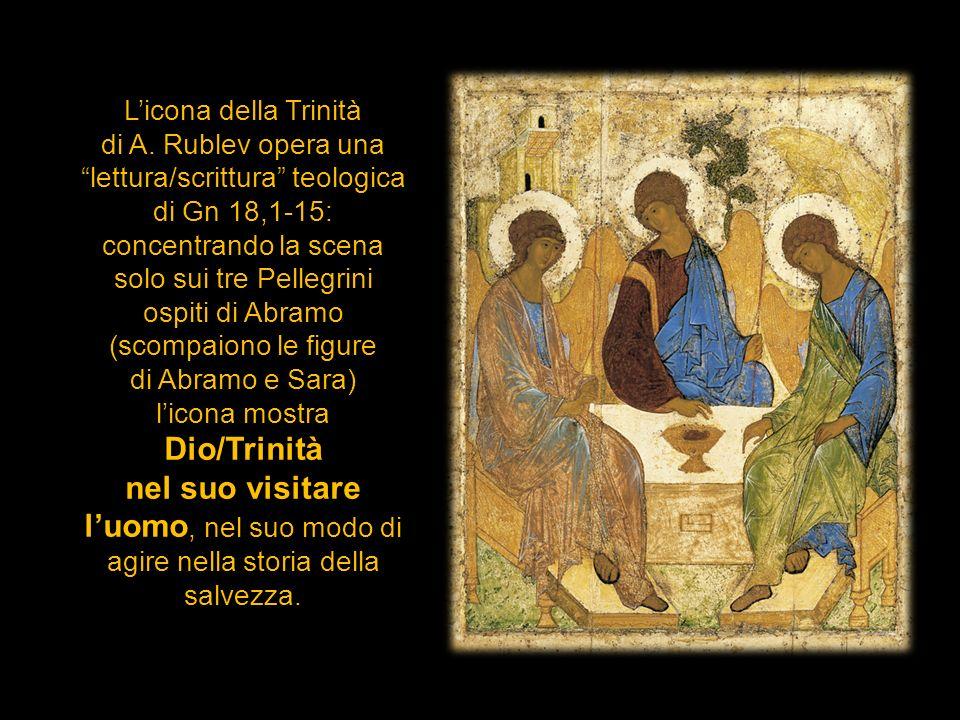 L'icona della Trinità di A. Rublev opera una lettura/scrittura teologica di Gn 18,1-15: concentrando la scena.