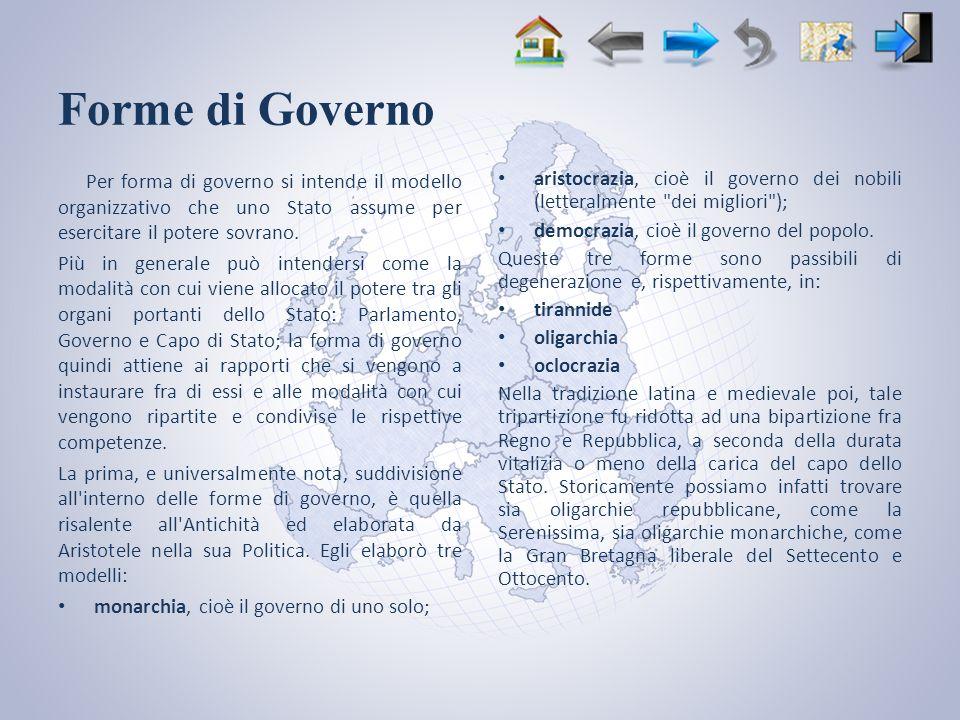 Forme di Governo Per forma di governo si intende il modello organizzativo che uno Stato assume per esercitare il potere sovrano.