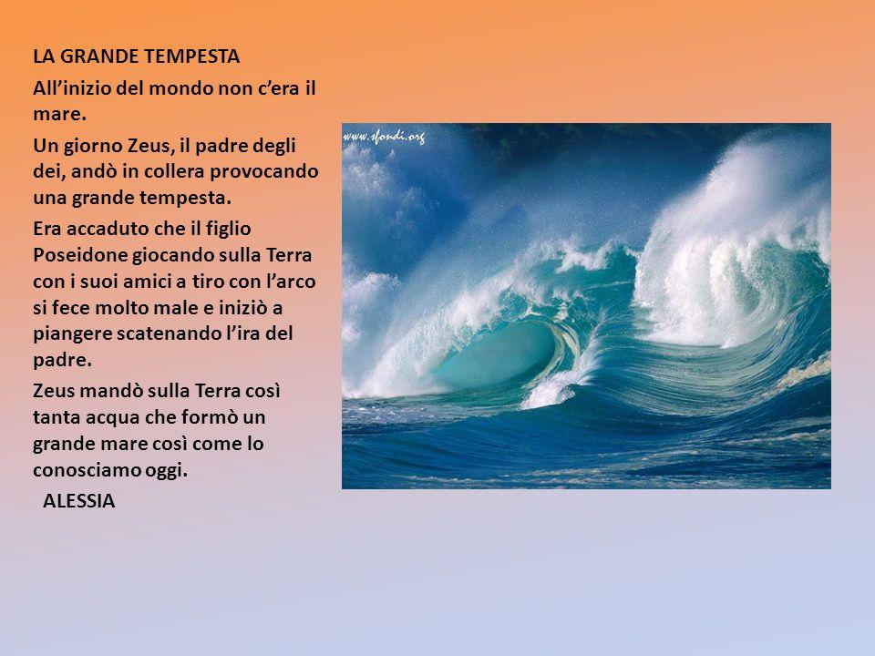 LA GRANDE TEMPESTA All'inizio del mondo non c'era il mare. Un giorno Zeus, il padre degli dei, andò in collera provocando una grande tempesta.