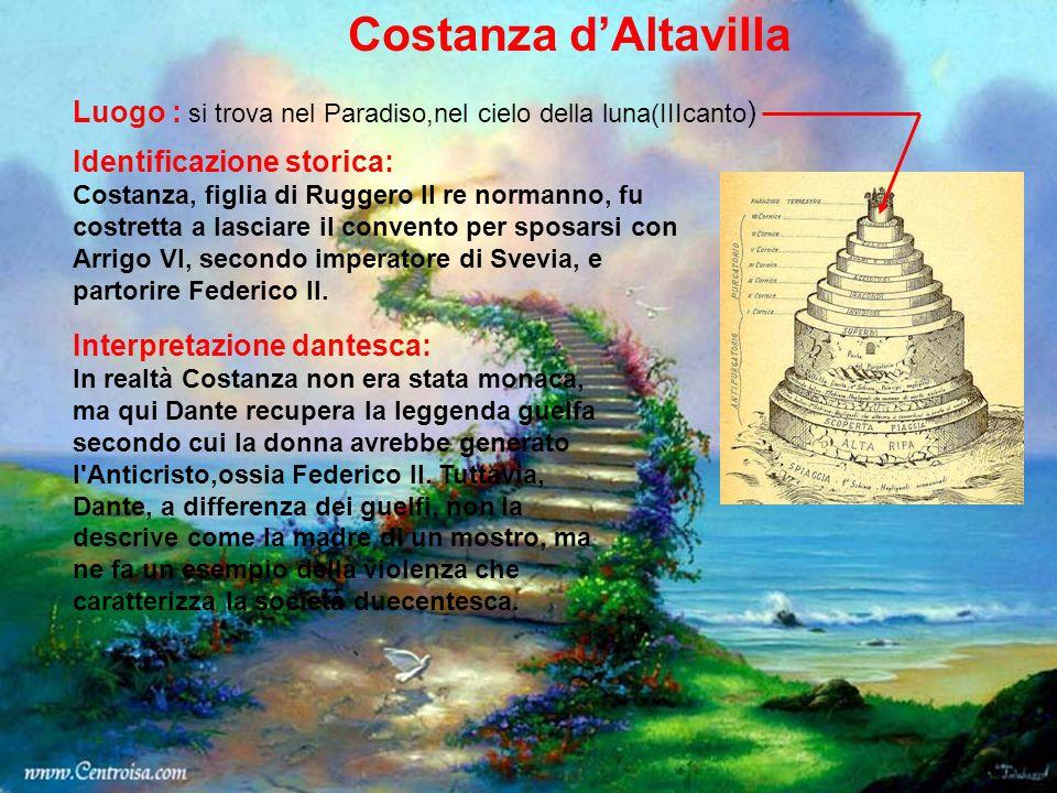 Costanza d'Altavilla Luogo : si trova nel Paradiso,nel cielo della luna(IIIcanto) Identificazione storica: