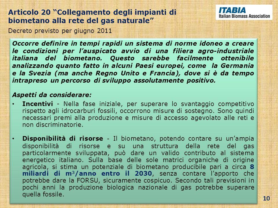 Articolo 20 Collegamento degli impianti di