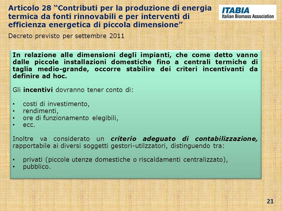 Articolo 28 Contributi per la produzione di energia termica da fonti rinnovabili e per interventi di efficienza energetica di piccola dimensione