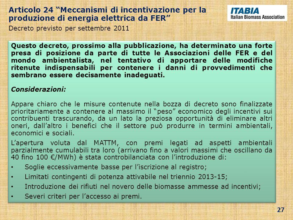 Articolo 24 Meccanismi di incentivazione per la produzione di energia elettrica da FER