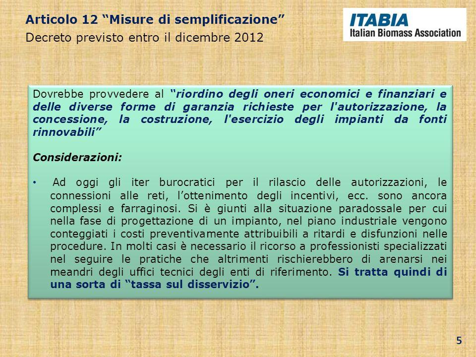 Articolo 12 Misure di semplificazione