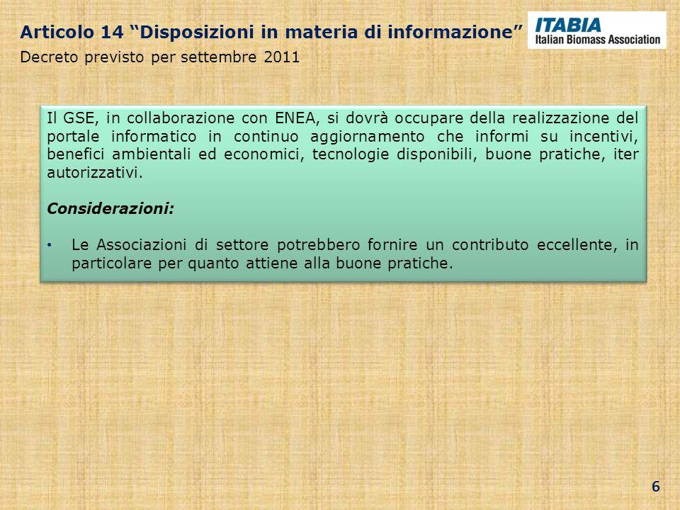 Articolo 14 Disposizioni in materia di informazione