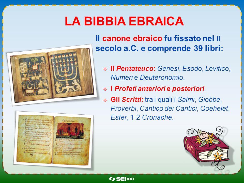 La bibbia ebraica Il canone ebraico fu fissato nel ii secolo a.C. e comprende 39 libri: