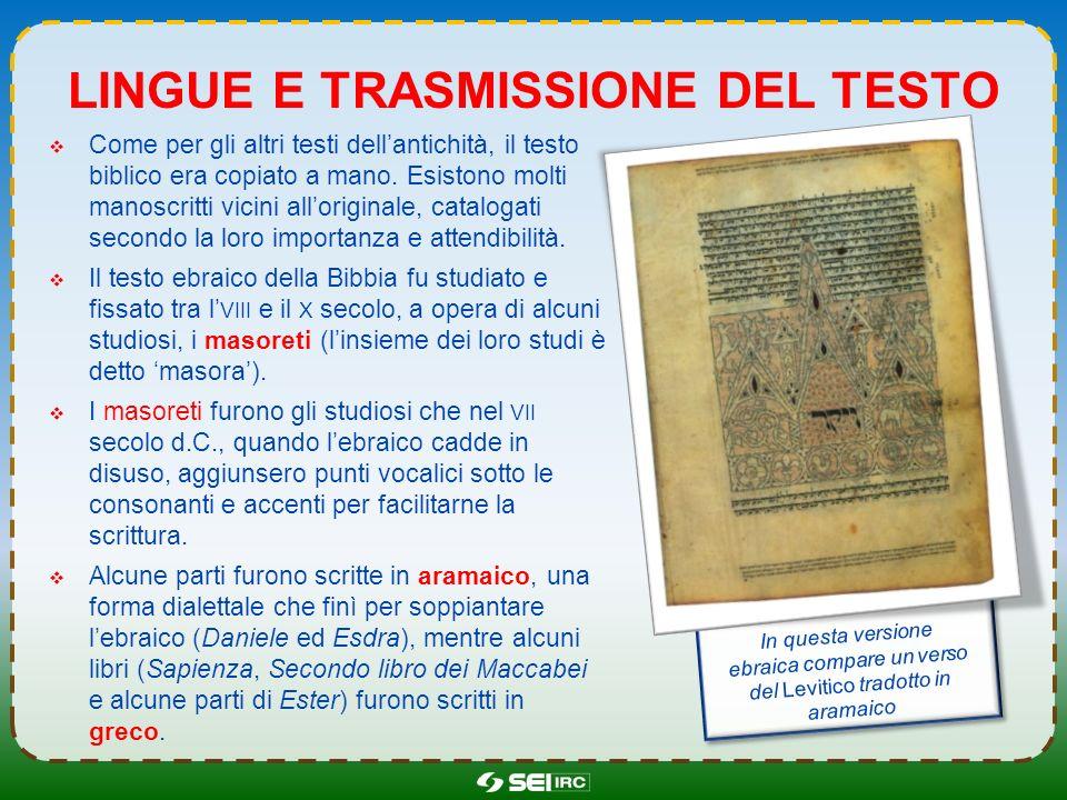 Lingue e trasmissione del testo