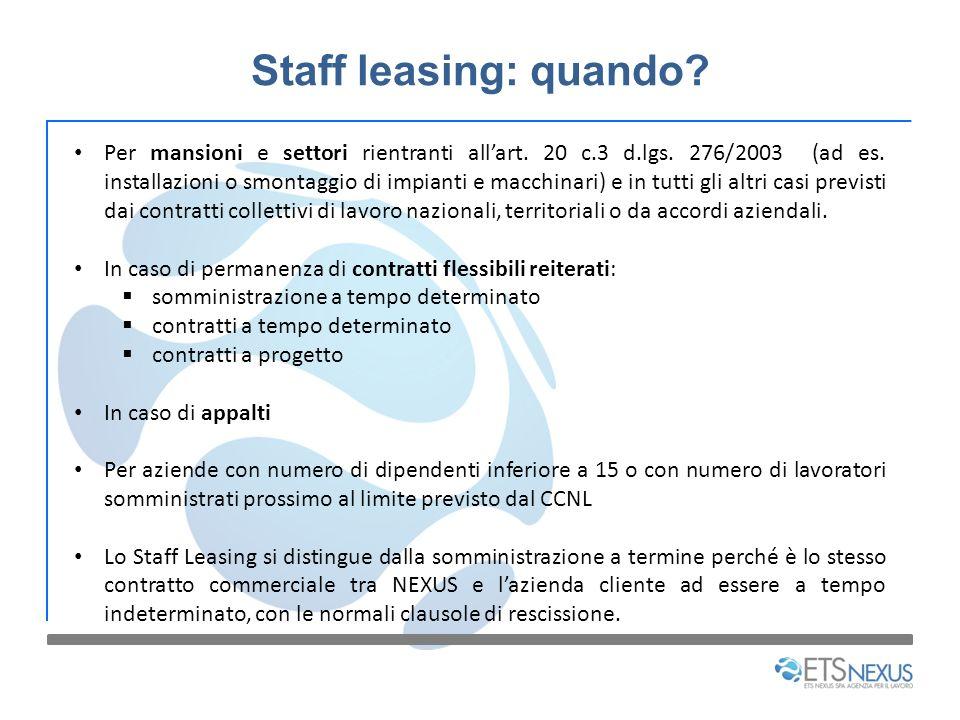 Staff leasing: quando