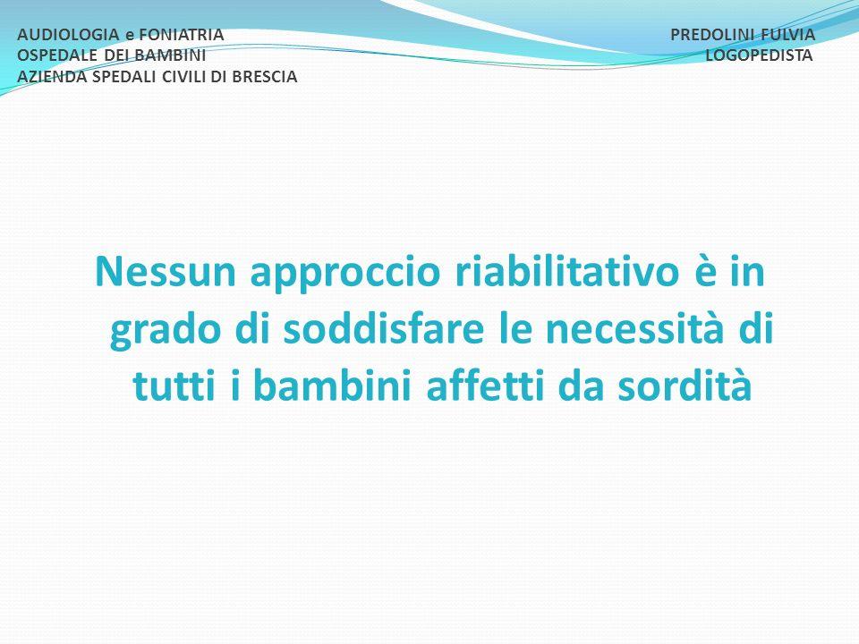 AUDIOLOGIA e FONIATRIA. PREDOLINI FULVIA OSPEDALE DEI BAMBINI
