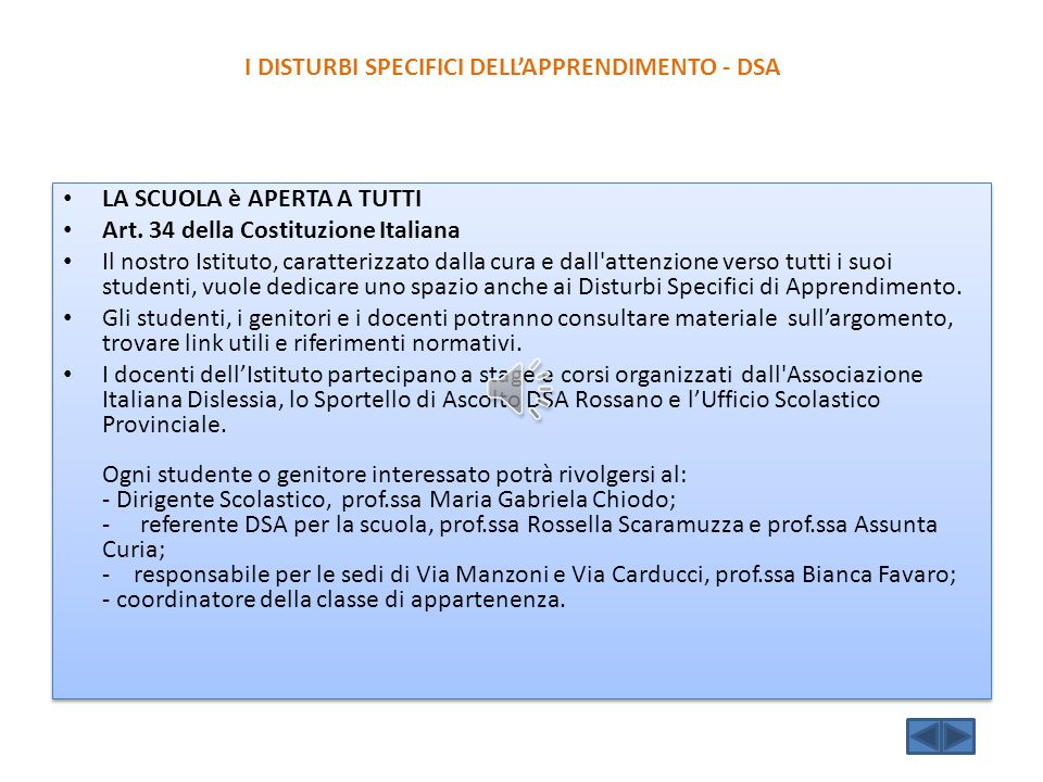 I DISTURBI SPECIFICI DELL'APPRENDIMENTO - DSA