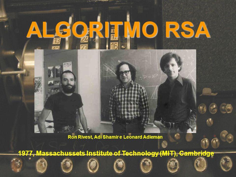 ALGORITMO RSA Ron Rivest, Adi Shamir e Leonard Adleman.