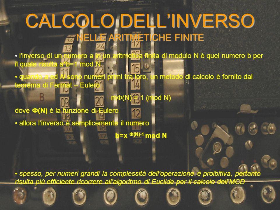 CALCOLO DELL'INVERSO NELLE ARITMETICHE FINITE