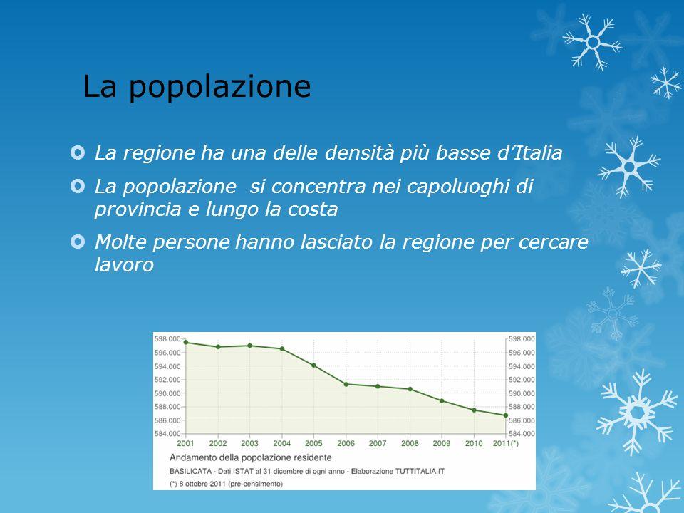 La popolazione La regione ha una delle densità più basse d'Italia