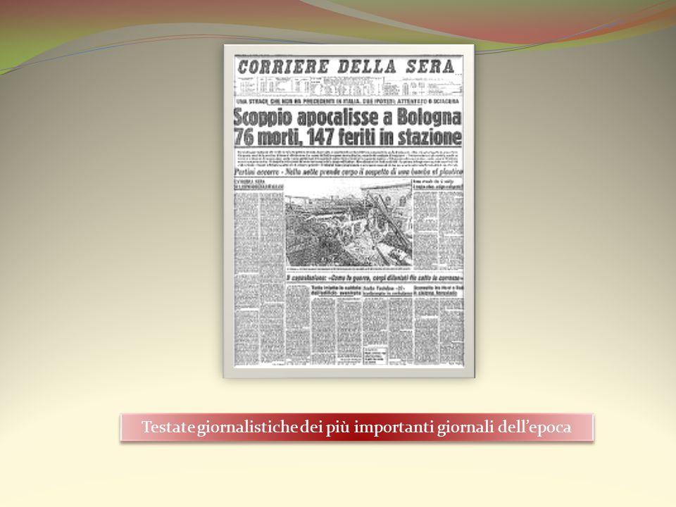 Testate giornalistiche dei più importanti giornali dell'epoca