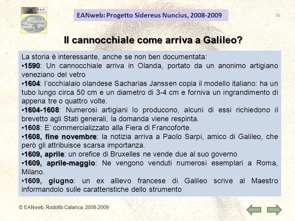 Il cannocchiale come arriva a Galileo