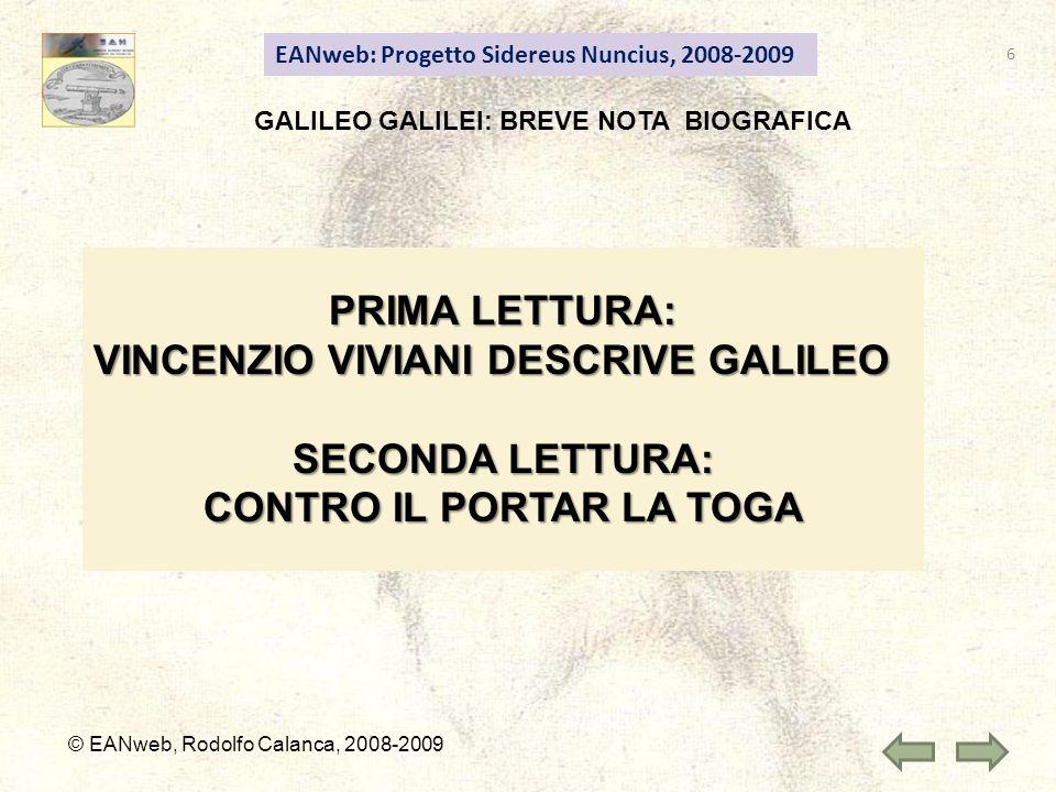 GALILEO GALILEI: BREVE NOTA BIOGRAFICA CONTRO IL PORTAR LA TOGA