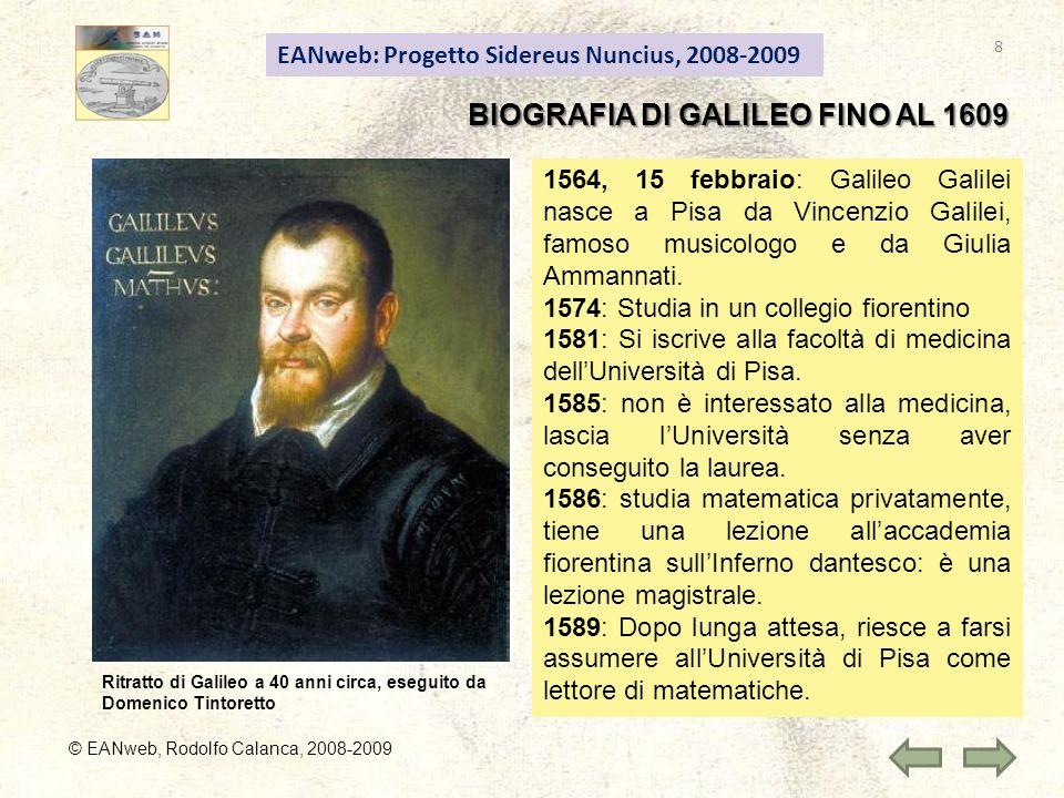 BIOGRAFIA DI GALILEO FINO AL 1609