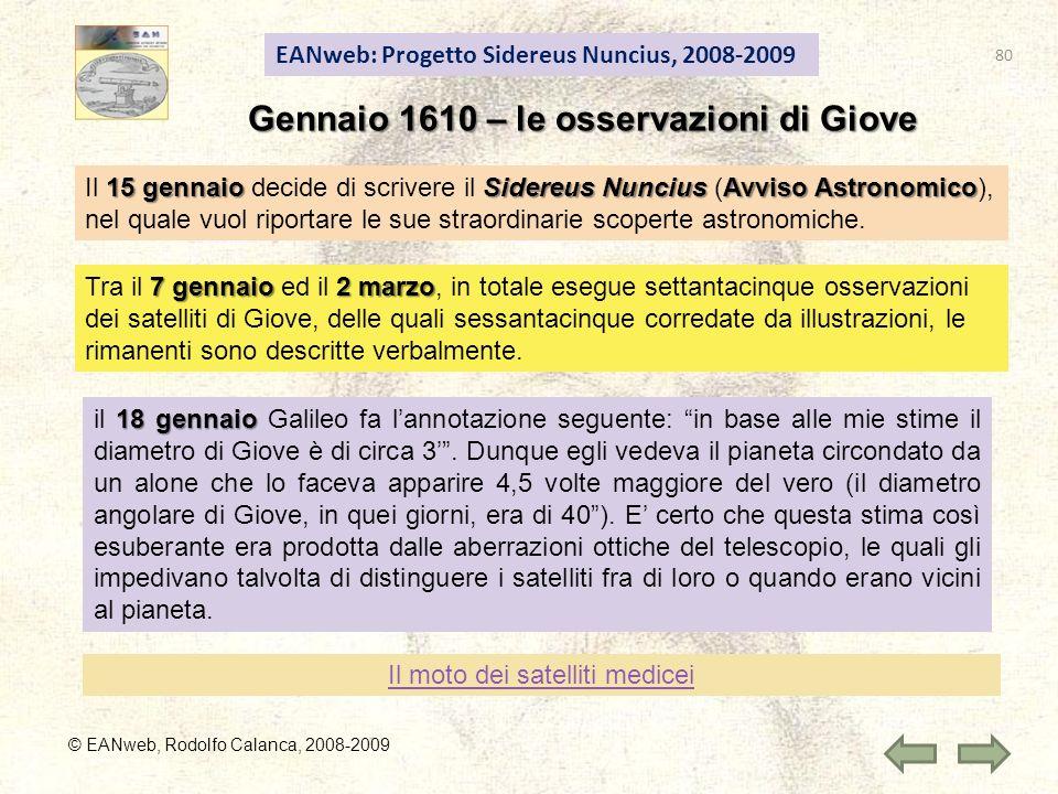 Gennaio 1610 – le osservazioni di Giove