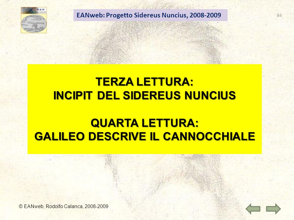 INCIPIT DEL SIDEREUS NUNCIUS GALILEO DESCRIVE IL CANNOCCHIALE
