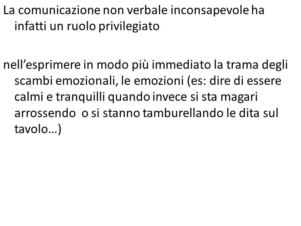 La comunicazione non verbale inconsapevole ha infatti un ruolo privilegiato nell'esprimere in modo più immediato la trama degli scambi emozionali, le emozioni (es: dire di essere calmi e tranquilli quando invece si sta magari arrossendo o si stanno tamburellando le dita sul tavolo…)