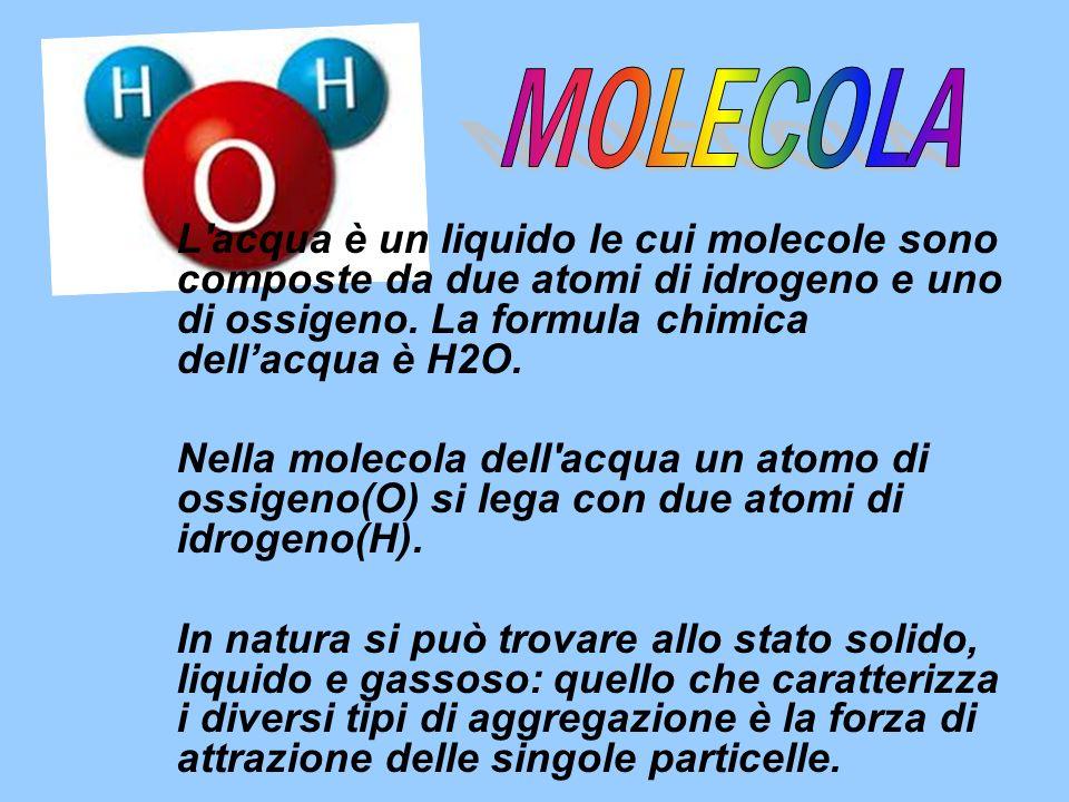 MOLECOLA L acqua è un liquido le cui molecole sono composte da due atomi di idrogeno e uno di ossigeno. La formula chimica dell'acqua è H2O.