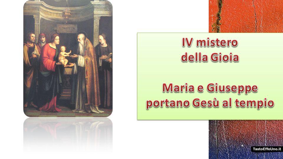 IV mistero della Gioia Maria e Giuseppe portano Gesù al tempio