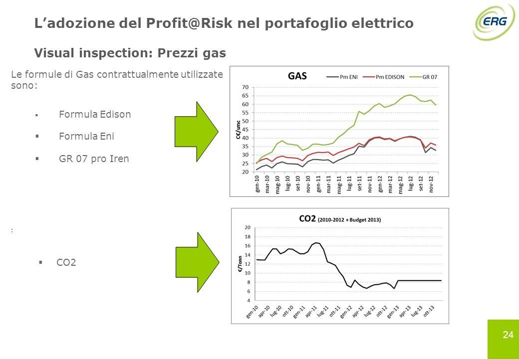 L'adozione del Profit@Risk nel portafoglio elettrico Visual inspection: Prezzi gas