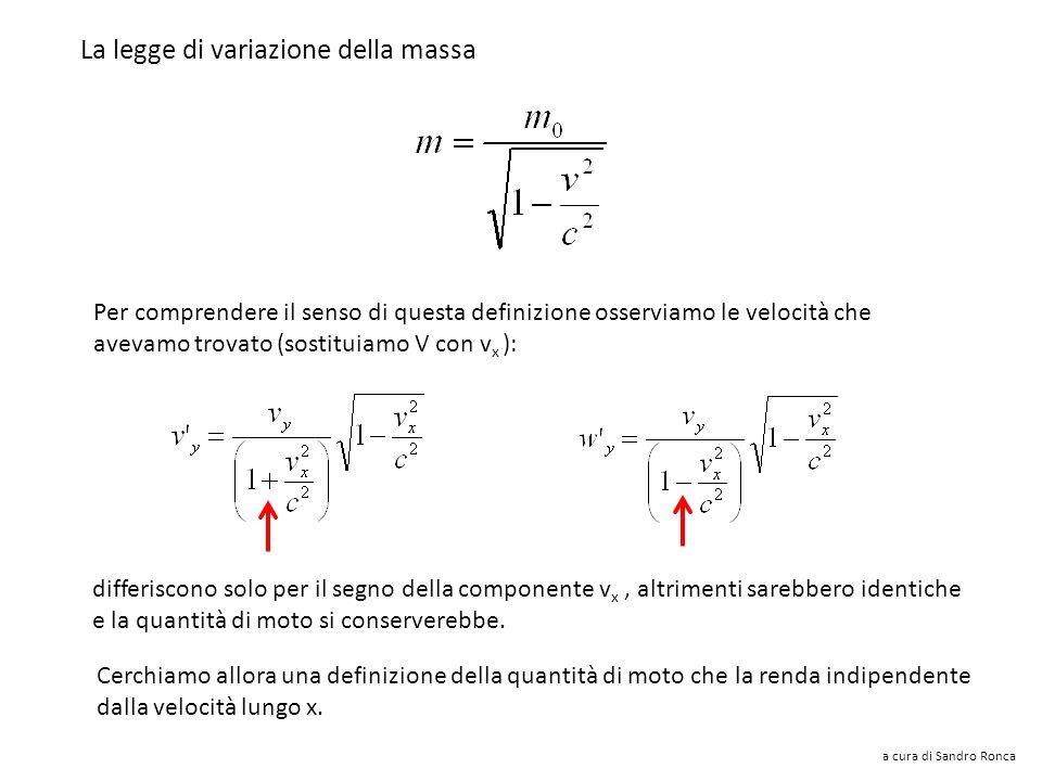 La legge di variazione della massa
