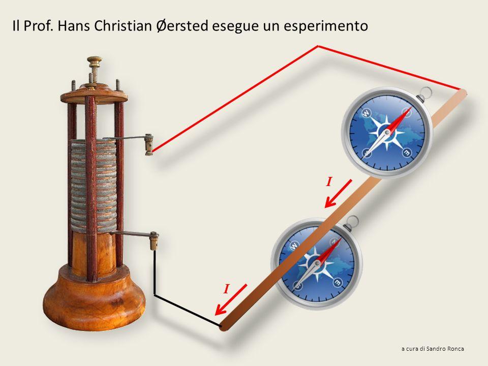 Il Prof. Hans Christian Øersted esegue un esperimento