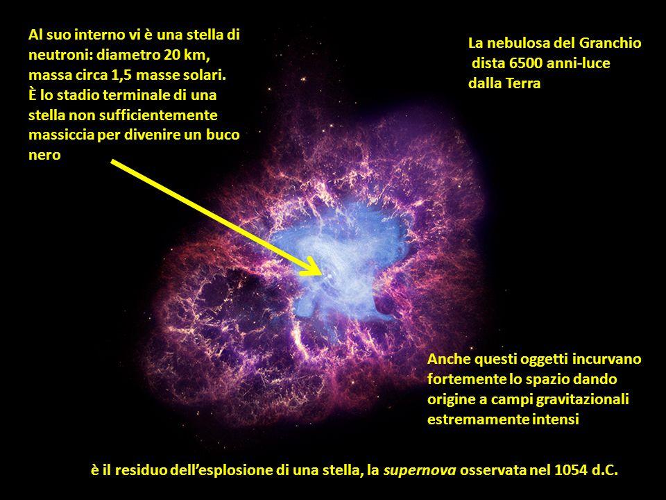 Al suo interno vi è una stella di neutroni: diametro 20 km,