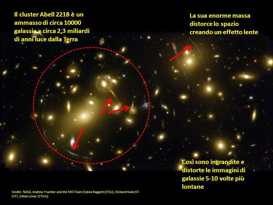 La sua enorme massa distorce lo spazio creando un effetto lente