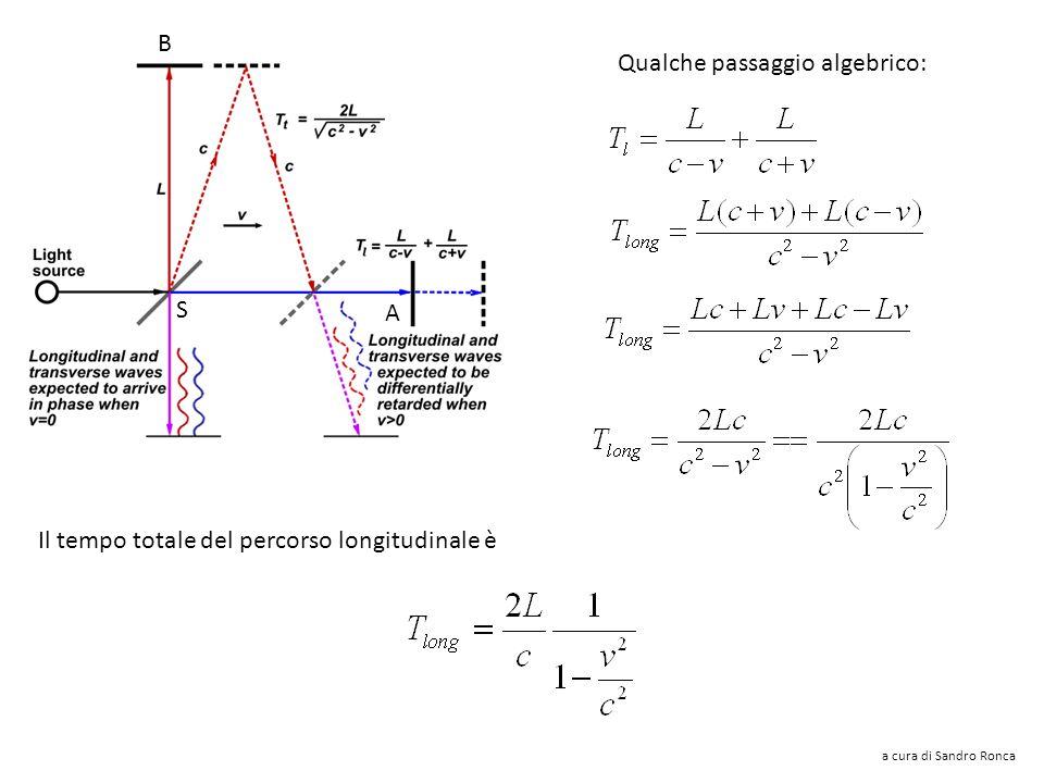 Qualche passaggio algebrico: