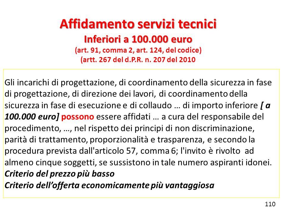 Affidamento servizi tecnici (art. 91, comma 2, art. 124, del codice)