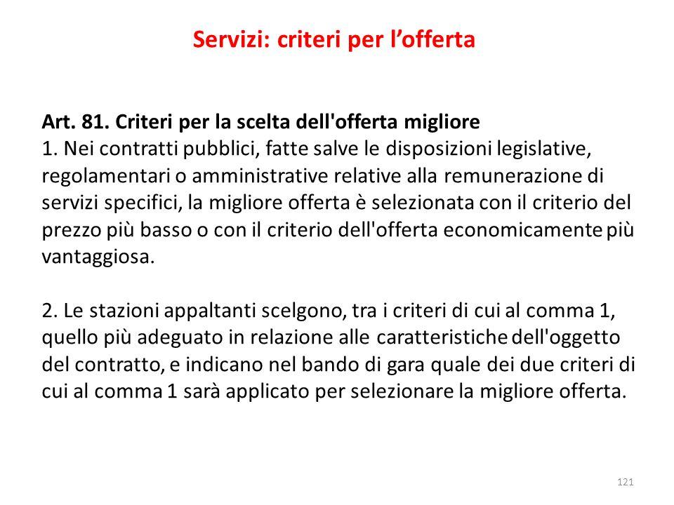 Servizi: criteri per l'offerta