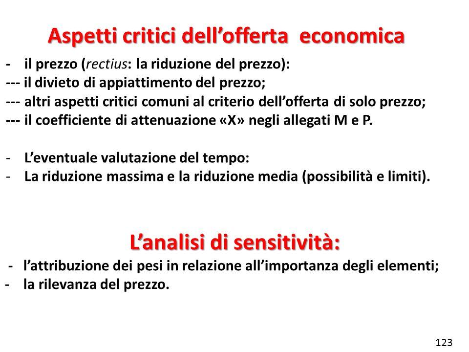Aspetti critici dell'offerta economica L'analisi di sensitività: