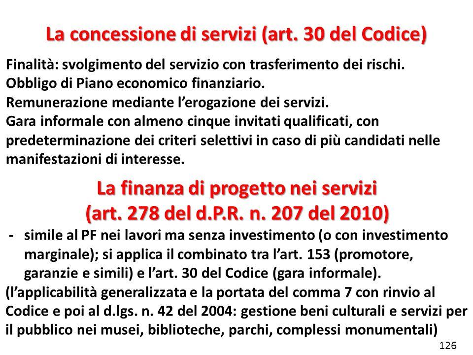La concessione di servizi (art. 30 del Codice)