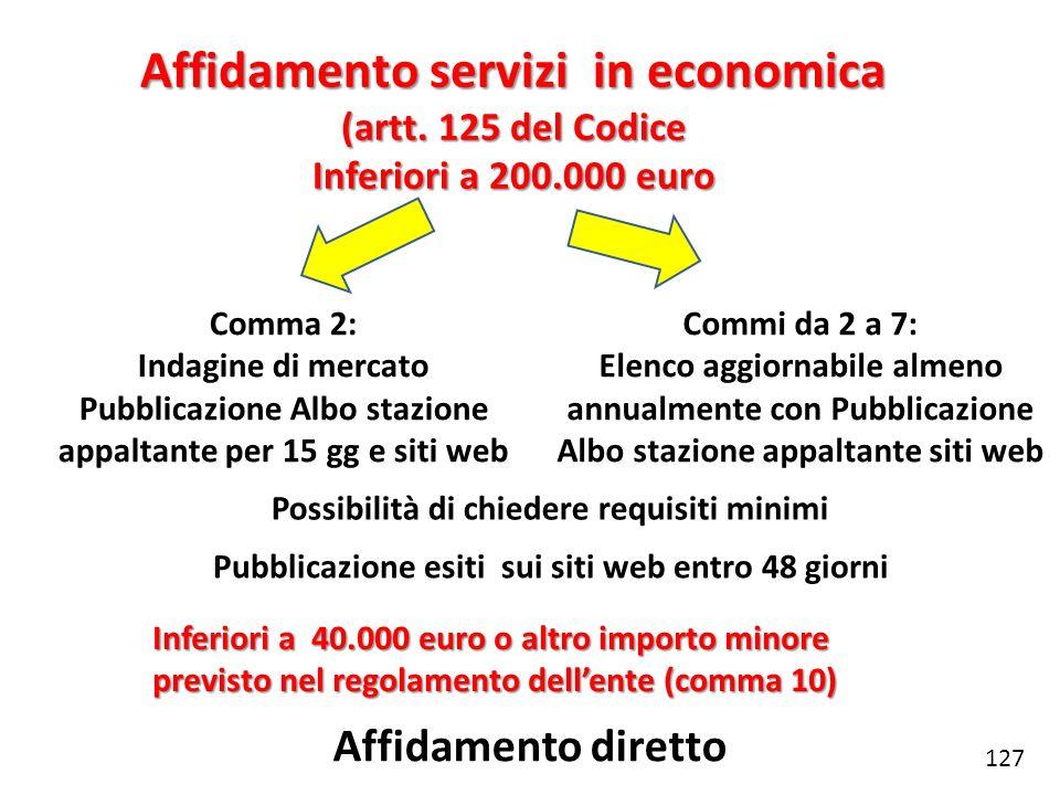 Affidamento servizi in economica