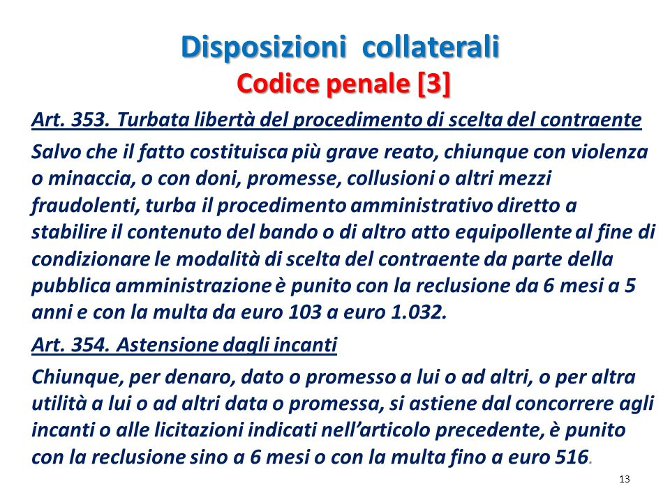 Disposizioni collaterali