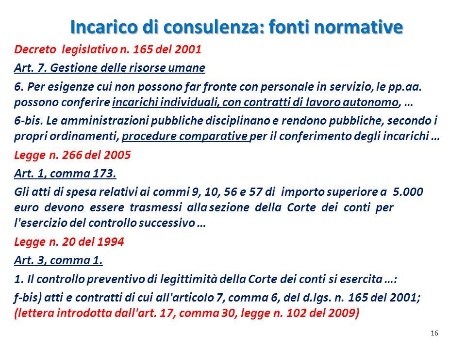 Incarico di consulenza: fonti normative