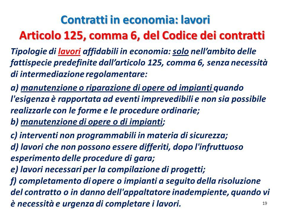Contratti in economia: lavori