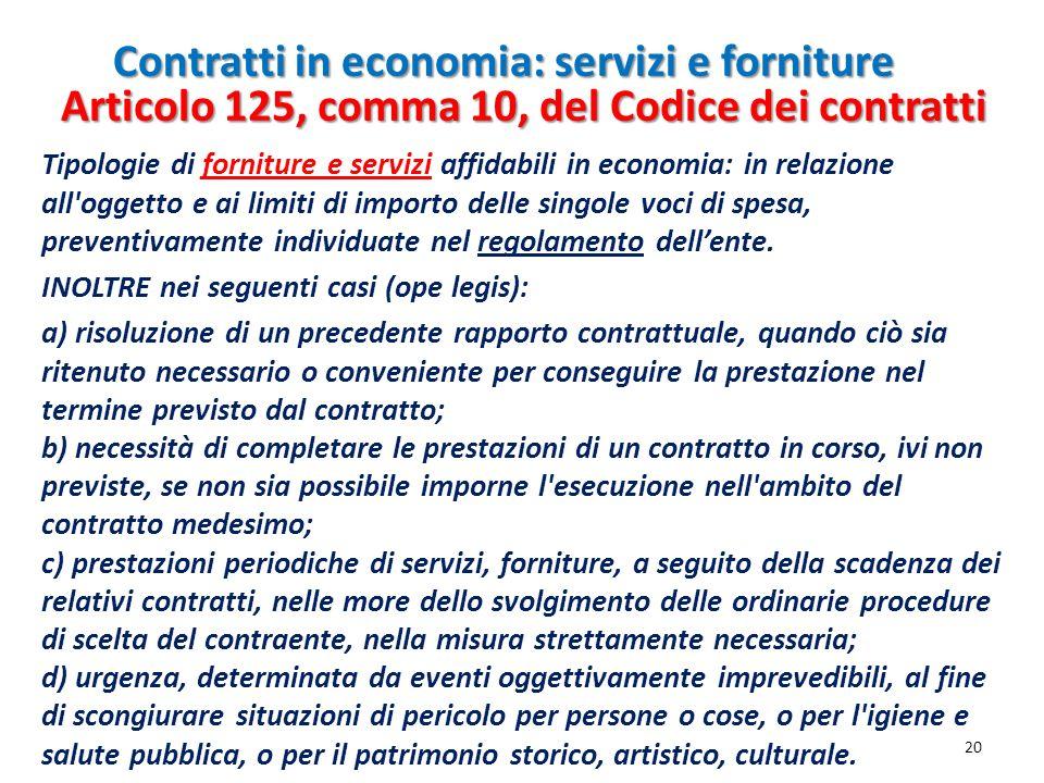 Contratti in economia: servizi e forniture