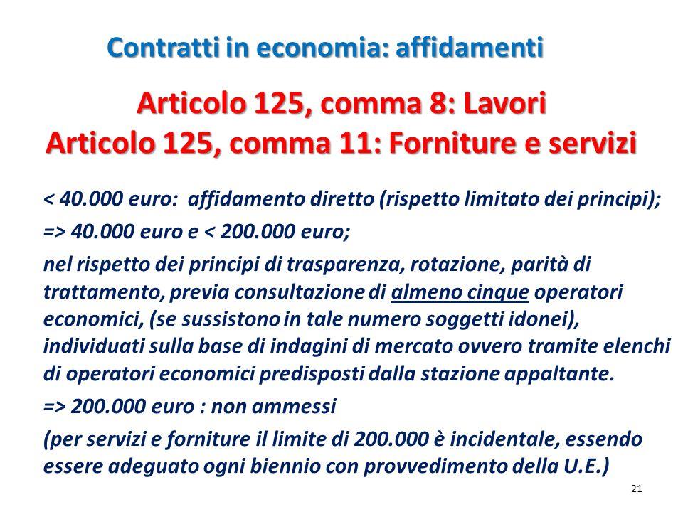 Contratti in economia: affidamenti