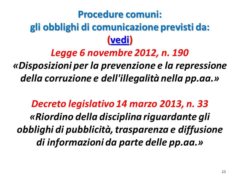 Procedure comuni: gli obblighi di comunicazione previsti da: (vedi) Legge 6 novembre 2012, n.