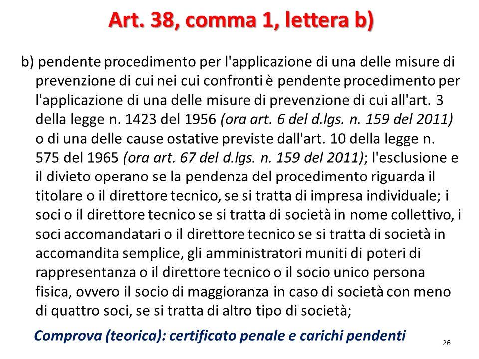 Art. 38, comma 1, lettera b)