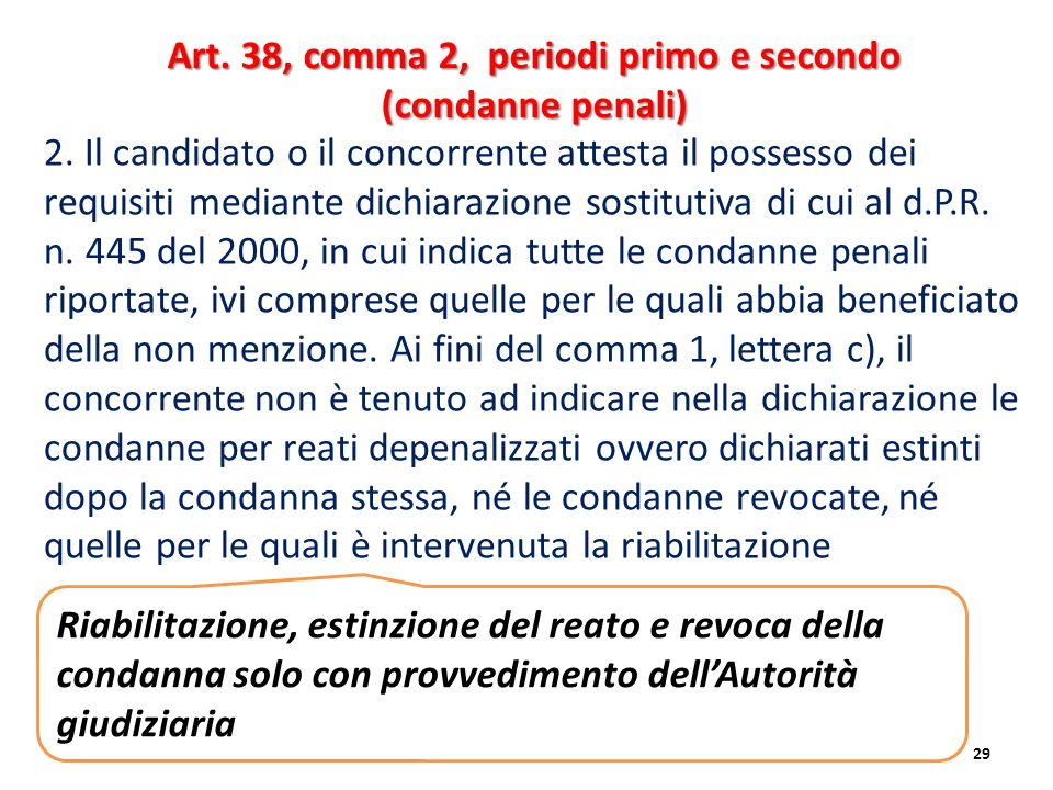 Art. 38, comma 2, periodi primo e secondo (condanne penali)