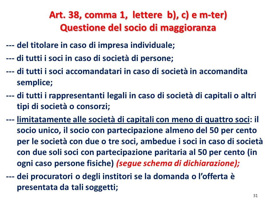 Art. 38, comma 1, lettere b), c) e m-ter)