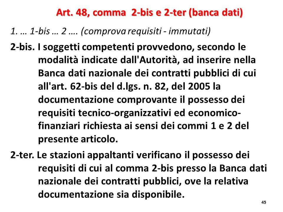 Art. 48, comma 2-bis e 2-ter (banca dati)